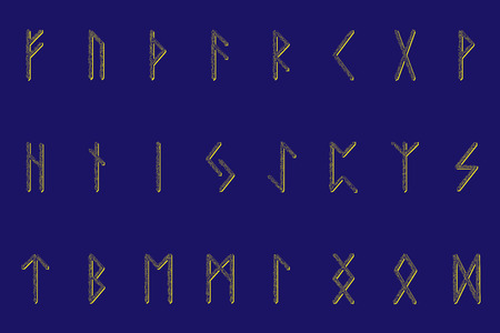 Set of ancient Norse runes. Runic alphabet, Futhark. Ancient occult symbols. Vector illustration. Old Germanic letters. Ornament, pattern. blue background. Golden glowing pattern.