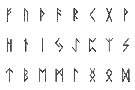 Set of ancient Norse runes. Runic alphabet, Futhark. Ancient occult symbols. Vector illustration. Old Germanic letters. Ornament, pattern. White background.  イラスト・ベクター素材