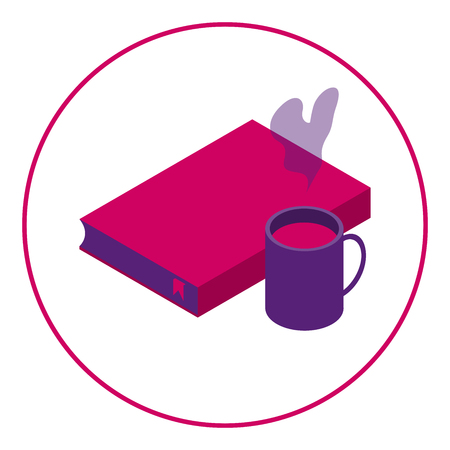 Icon of the book and hot drink. Reading with a drink. Icon reader and cafe. Pink color. White background