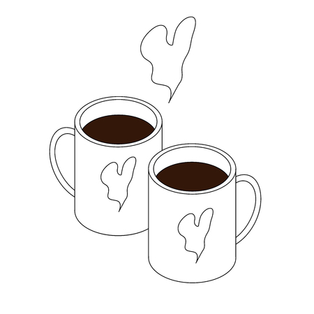 Two hot drinks in cups. Isometry and lines. Logo for a cafe. Love and heart. White background