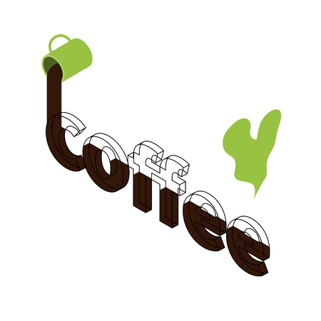 Letters in isometric coffee. Two hot drinks in cups. Logo for a cafe. Linear letters. Ecology. White background