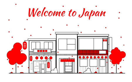 Japan outline horizon. Old Town, shopping old streets. Japan cityscape, Japanese travel city vector banner. City silhouette. Sakura blooming and falling leaves petals. Red light district. Linear illustration with red lanterns and trees. Ilustração