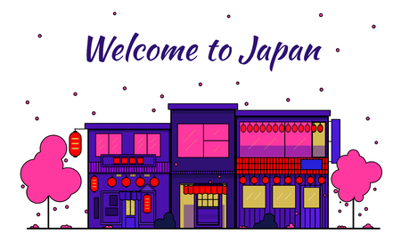 Japan outline horizon. Old Town, shopping old streets. Japan cityscape, Japanese travel city vector banner. City silhouette. Sakura blooming and falling leaves petals. Red light district. Night streets on a white background