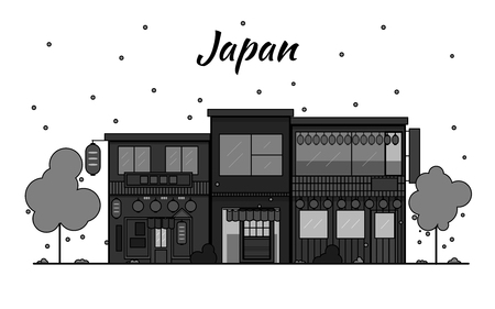 Japan outline horizon. Old Town, shopping old streets. Japan cityscape, Japanese travel city vector banner. City silhouette. Sakura blooming and falling leaves petals. Red light district. Black and white