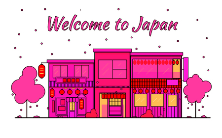 Japan outline horizon. Old Town, shopping old streets. Japan cityscape, Japanese travel city vector banner. City silhouette. Sakura blooming and falling leaves petals. Red light district. In pink colors on a white background