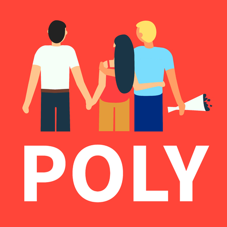 Flat illustration of partners polyamorous love. Open romantic and relationships. Relationship loving people. Polyamory Colorful background. Live coral, trend color
