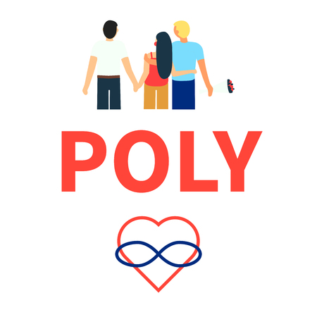Flat illustration of partners polyamorous love. Open romantic and sexual relationships. Relationship loving people. Symbols of polyamory. Letters - poly. Colorful illustration on white background Ilustração