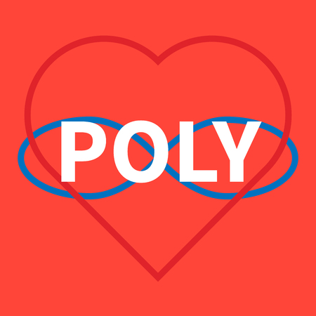 Flat illustration. Open romantic and relationships. Polyamory Symbols of polyamory. Letters - poly. Colorful illustration on coral background