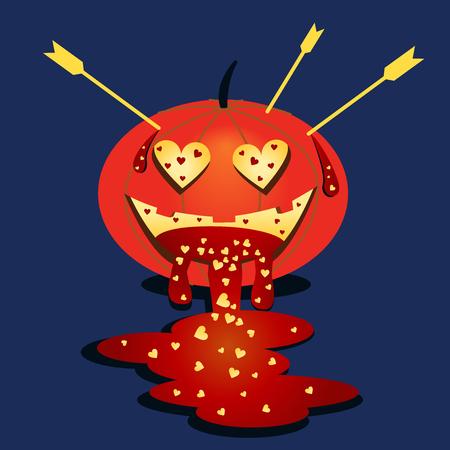 Vector halloween pumpkin. Pumpkin in love. Halloween cartoon sticker. Flat festive illustration. Valentine s Day and Halloween. Blue background
