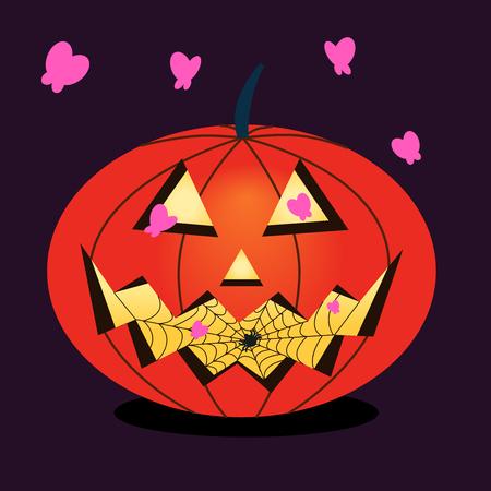 Vector halloween pumpkin. Pumpkin attracts butterflies with a spider inside. Halloween cartoon sticker. Flat festive illustration. Pumpkin and pink butterflies. Scary spider and cobweb. Dark background