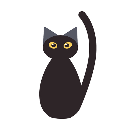 A black cat with yellow eyes looks straight. Cute cat for Halloween. Cat in cartoon style