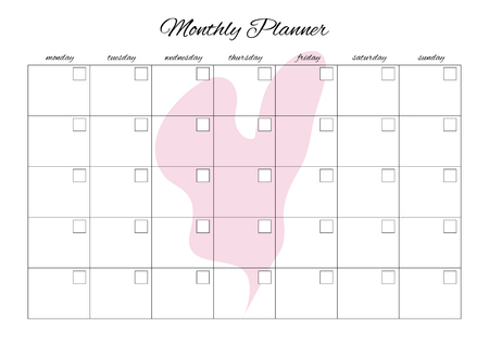 Monthly planner universal for any month with clean empty places. You can enter your numbers. With heart