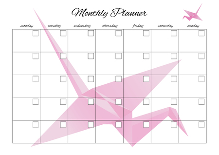 Monthly planner universal for any month with clean empty places. You can enter your numbers. With origami