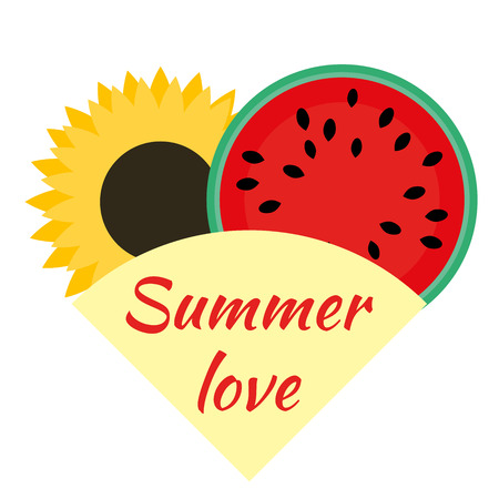 Sunflower and watermelon symbols of August and summer. Watermelon in the cut and sunflower in the package in the shape of a heart. National watermelon holiday. Ilustração