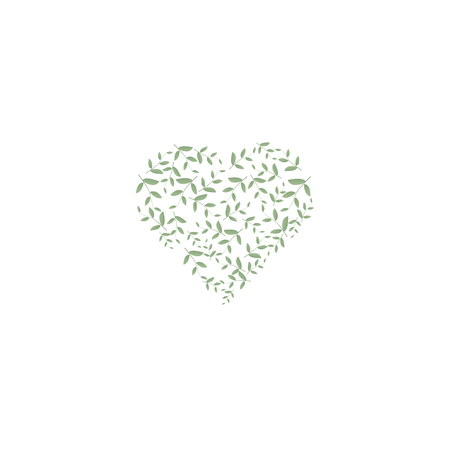 A small heart filled with green leaves. Sign of ecology and nature. Suitable for cards, invitation and eco products, cosmetics. For highlights and icons.