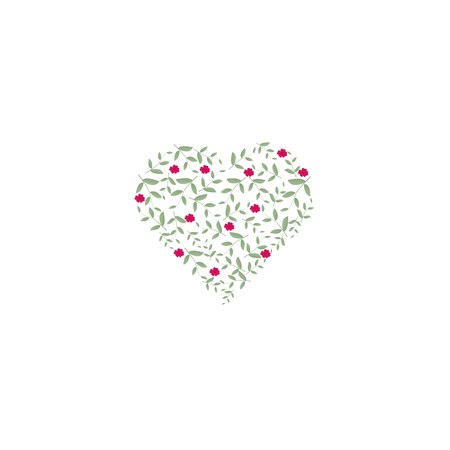 Small heart filled with leaves of green and pink flowers. Sign of ecology and nature. Suitable for cards, invitations and eco products. For highlights and icons.