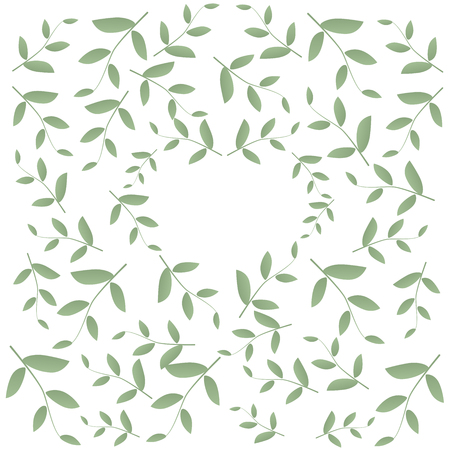 Green leaves arranged around a heart shaped background. Vector illustration. For postcards, invitations, highlights, blogs, natural cosmetics and products. Ecology and love. White background