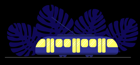 Blue tram with yellow windows at night against the backdrop of Monstera leaves. Dark background and public eco transport. Black background Ilustração