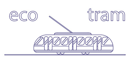 Linear tram on a white background. Public transport is eco-friendly. Eco transport for the city. For banners, backgrounds, sites, design. White background Ilustração