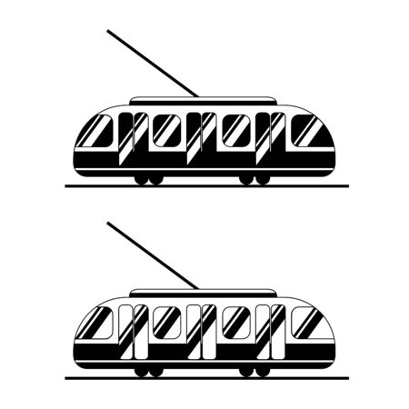 Icons tram black and white. Public transport in two options silhouettes. Logo for sites and banners. Tram, train, tram lines. White background