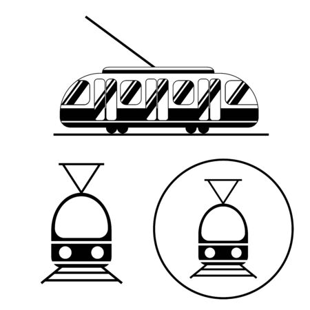 Tram icons black and white set. Public transport from the side and straight from the front. Logo for sites and banners. Tram, train, tram lines. White background Ilustração