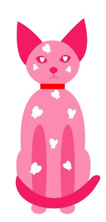 A full-length cat, sitting and looking straight. Pink cat with transparencies in neon style. Cute kawai pet with a collar and butterflies. White background