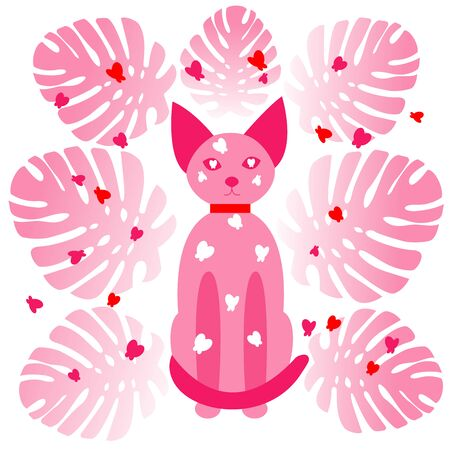Pink transparent cat sits and looks straight ahead. A cat surrounded by butterflies of different colors and monster leaves. Neon style. White background