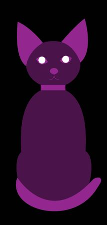 Purple cat transparent sitting and looking straight ahead. Stylish cat in a collar suitable for the logo of nightlife or social networks. Also for Halloween. Black background