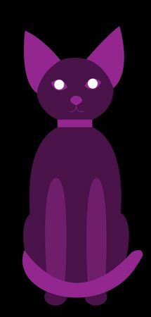 Purple cat transparent sitting and looking straight with paws in front. Stylish cat in a collar suitable for the logo of nightlife or social networks. Also for Halloween. Black background