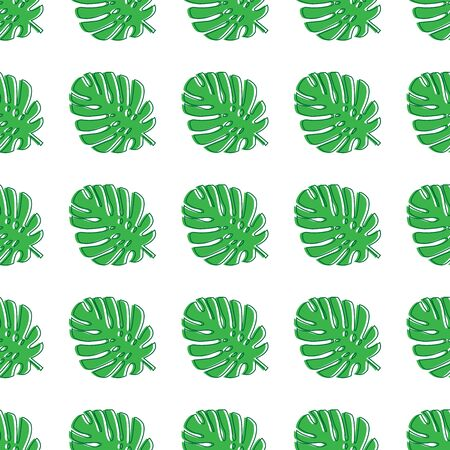 Monstera leaves green. Tropical theme seamless pattern, jungle, freshness, exotic. Trendy pattern for decoration or for background. Vector illustration.