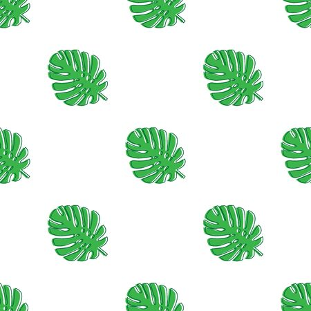 Monstera leaves green. Tropical theme seamless pattern, jungle, freshness, exotic. Trendy pattern for decoration or for background. Vector illustration. Stock Illustratie