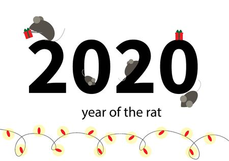 New Year of the rat or mouse. Mice with gifts on the background of the numbers 2020. For the new year. Holiday garlands below. Stock Illustratie