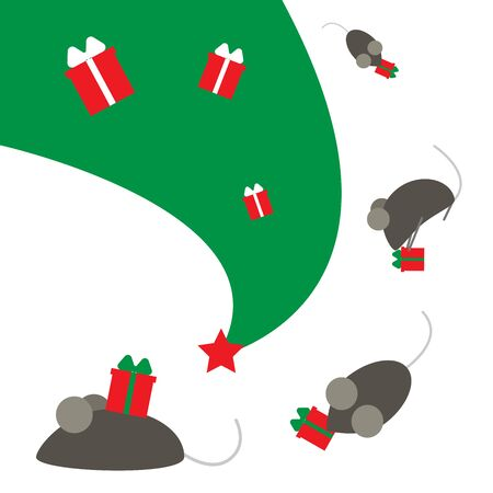New Year of the rat or mouse. The symbol of the Chinese year. Mice run on a Christmas tree with gifts.