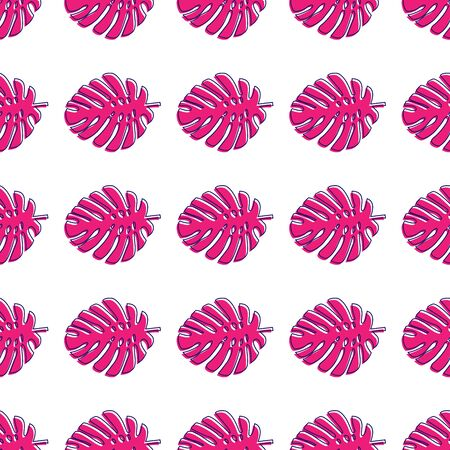 Pink leaves of the Monstera on a white background. Pattern of tropical plants. Çizim