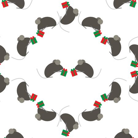 Seamless pattern for new year. Chinese symbol of New Year s rat or mouse. Cute mice exchange gifts. Suitable for background or wrapping paper. Festive background. Иллюстрация