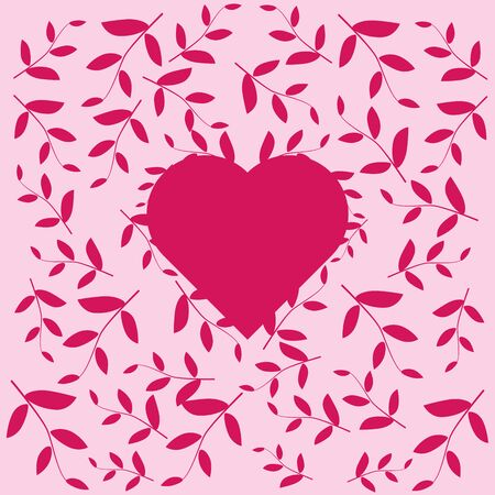 Pink heart with a pattern of leaves and plants in pink colors. Small pattern for decoration or invitation for a wedding or Valentine s Day.