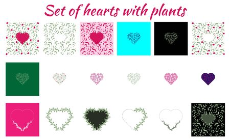 Set of different hearts with plants, leaves and flowers. Different colors and sizes for backgrounds or decorations for a wedding or Valentine s Day. Hearts for postcards or highlights. Stock Illustratie
