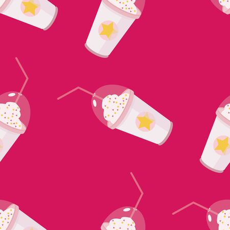 Coffee in paper cup take-away seamless pattern. Summer cold frappuccino coffee with whipped cream.