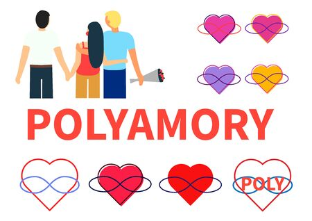 Seth polyamory. Two guys and a girl hold hands and hug. Several symbols of polyamoria - hearts and infinity sign in different circuits. Stock Illustratie