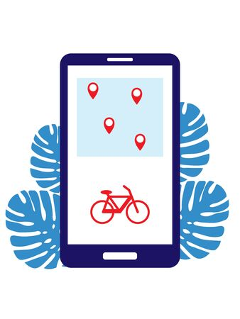 Rent a bike and search for stations with parking through the application on the phone. Bike sharing with items shown on the phone. Smart service for renting bicycles in the city.