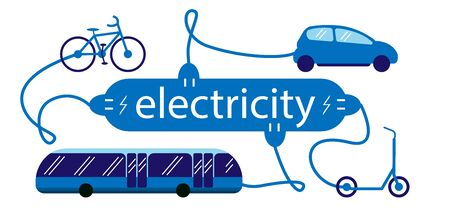 Electric transport car, bus, bike and scooter and the symbol of the electric charging station. Vehicles are charged by the electricity lettering. Vector illustration.