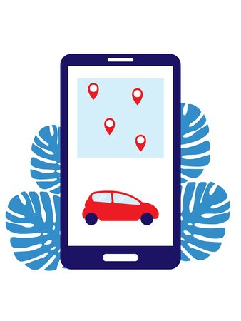 Carsharing through the phone. Vector illustration. The choice of renting a car through the phone on the city map. The points show the points where you can rent a car 向量圖像