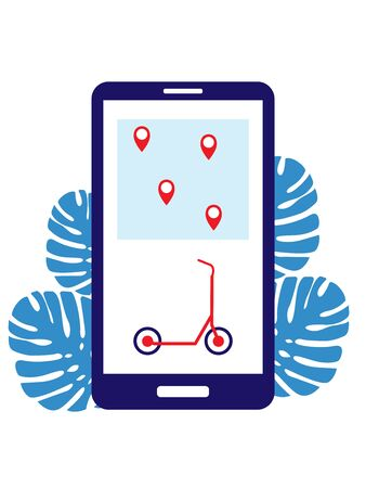 Scooter sharing through the phone. Vector illustration. The choice of renting a scooter through the phone on the city map Points show points where you can rent a vehicle Çizim