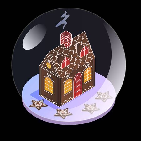 Snow glass ball in isometric view. Gingerbread house with stars under the glass. Christmas present for children. Snowstorm and snow under a stele in the sphere Stok Fotoğraf - 132124579