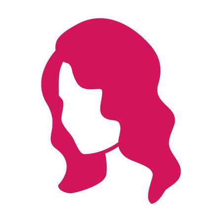 Peinado retro de mujer de los años 50. Ola de cabello de Hollywood. Peinado femenino glamoroso. Icono para el diseño de peluqueros y estilistas. Color de pelo rosa de moda.