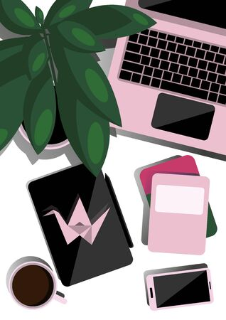 Desktop top view. Flat illustration for business, education. Creative layout. Desktop with laptop, tablet, phone, coffee, plant and notebooks. Origami pink crane. Stok Fotoğraf - 132124283