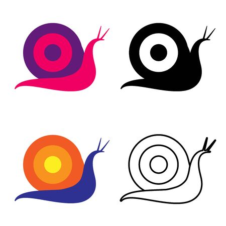 Set of snails in different styles and colors. Linear, flat and black and white. For decoration for children or for South Korean cosmetics. As a logo or for highlights or a logo.