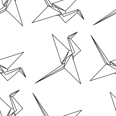 Origami crane seamless pattern. Vector flat crane made of paper. Suitable for decoration in oriental style, paper, fabric, background.