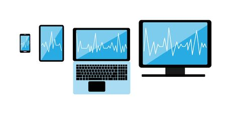 Cross-platform web content. Devices - smartphone, tablet, laptop and desktop computer with open web pages in a browser and a place for text. Cardiogram on all screens. Multi-platform content