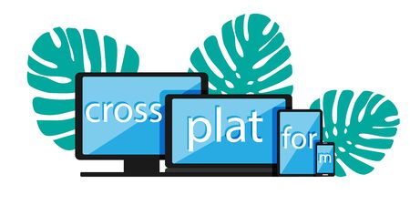 Cross-platform web content. Devices - smartphone, tablet, laptop and desktop computer with letters and a plant on the background. Flat vector illustration. Multi-platform content.